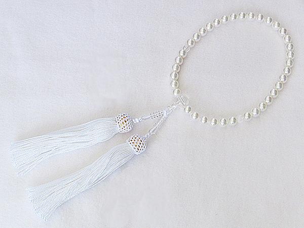 念珠 数珠 念誦 真珠パール 6月誕生石 あこや本真珠 直径7.5mm 水晶 親玉10mm 二天玉5.5mm 正絹 白房 念珠ケース付き