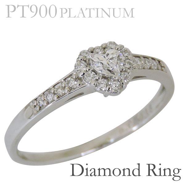 リング ハートシェイプ ダイヤモンド PT900プラチナ レディース