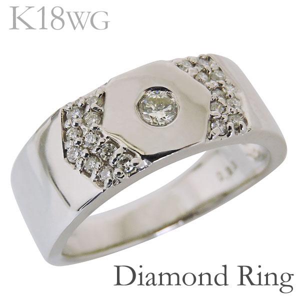 リング フラットバンド 六角形デザイン ダイヤモンド K18ホワイトゴールド レディース