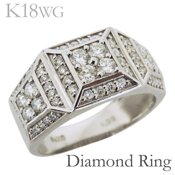 リング 印台型 パヴェ62石 ダイヤモンド K18ホワイトゴールド レディース