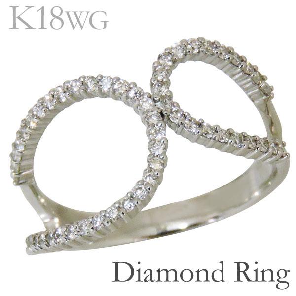 リング ダブルループ型 ダイヤモンド K18ホワイトゴールド レディース