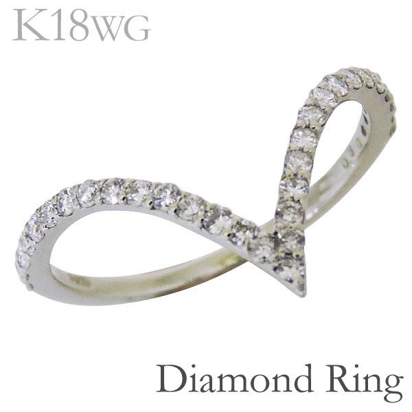 リング V字型 ダイヤモンド K18ホワイトゴールド レディース