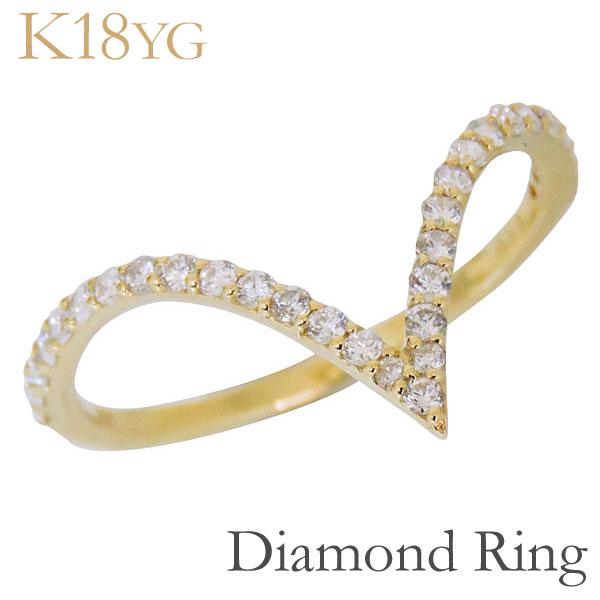 母の日 2019 リング V字型 ダイヤモンド K18イエローゴールド レディース