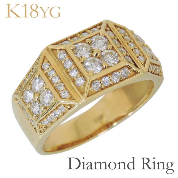 リング 印台型 パヴェ62石 ダイヤモンド K18イエローゴールド メンズ バレンタイン