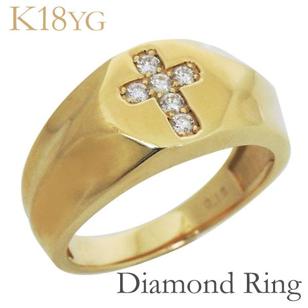 リング 印台型 クロスモチーフ ダイヤモンド K18イエローゴールド メンズ バレンタイン
