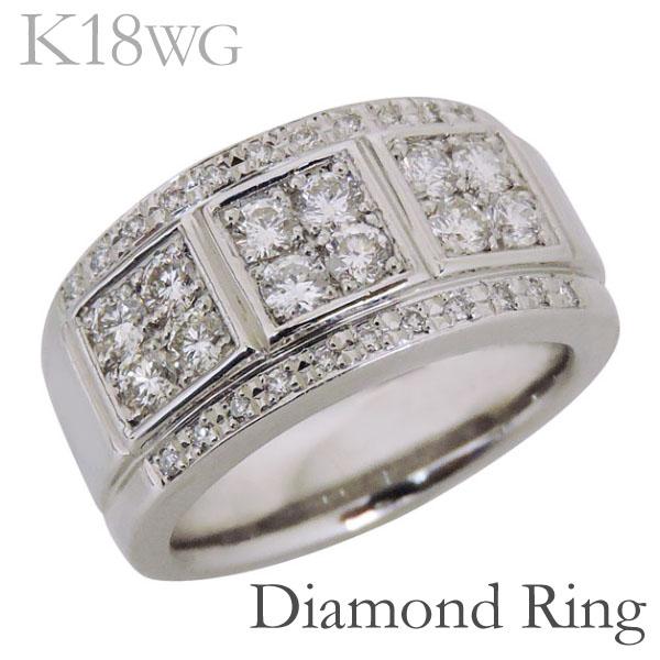 リング フラットバンド パヴェ ダイヤモンド K18ホワイトゴールド メンズ バレンタイン