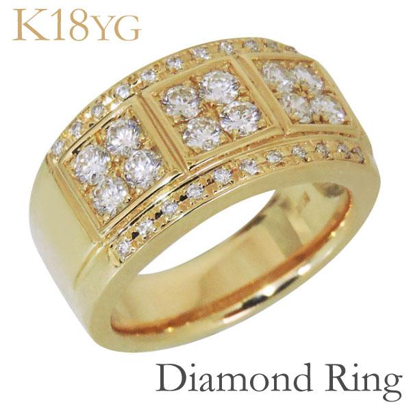 リング フラットバンド パヴェ ダイヤモンド K18イエローゴールド メンズ 父の日 バレンタイン