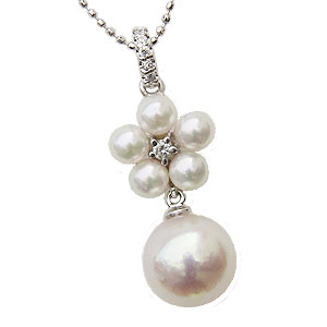 ペンダント あこや真珠パール ホワイトゴールド ネックレス ダイヤモンド ジュエリー