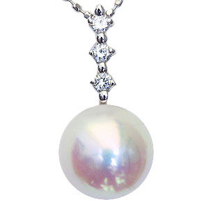 真珠 パール ペンダントトップ ペンダント あこや本真珠 直径8.5mm ダイヤモンド 0.10ct Pt900 プラチナ 送料無料