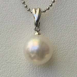 真珠 パール ペンダントトップ ヘッド あこや本真珠 8mm K18WG ホワイトゴールド 送料無料
