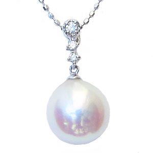6月誕生石 ネックレスペンダント あこや真珠パール PT900プラチナネックレス ダイヤモンド