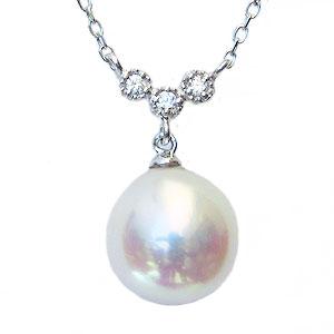ペンダントネックレス 真珠パールアコヤ本真珠パール6月誕生石ペンダントネックレスあこや本真珠直径8.5mmダイヤモンド0.03ctホワイトゴールドK18WG18金