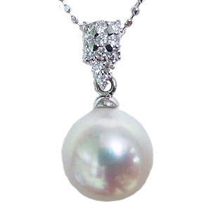 真珠 パール ペンダントトップ あこや本真珠 9mm アコヤ ホワイトゴールド