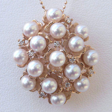 母の日 2019 アコヤ本真珠 ペンダントトップ(ヘッド) ダイヤモンド パール ピンクホワイト系 4mm K18PG ピンクゴールド