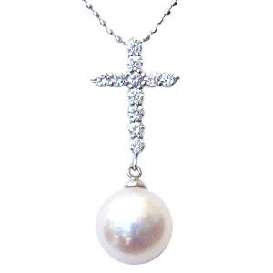 母の日 2019 ★十字架(クロス)デザイン★SVシルバー アコヤ本真珠(あこや本真珠)クロスモチーフペンダントネックレスです。脇石はキュービックジルコニア。◎真珠は6月の誕生石です。