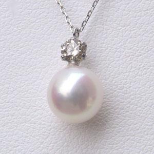 母の日 2019 アコヤ本真珠 ペンダントネックレス ダイヤモンド パール 7.5-8mm ピンクホワイト系 PT900 プラチナ アズキチェーン付