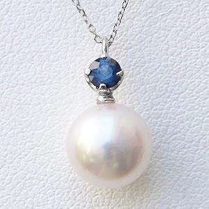 母の日 2019 真珠 パール ペンダント ネックレス あこや本真珠 アズキチェーン 9月の誕生石 サファイア