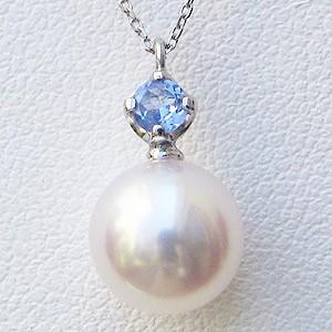 母の日 2019 真珠 パール ペンダント あこや本真珠 アズキチェーン(あこや本真珠) 12月の誕生石 タンザナイト