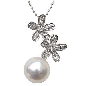 パール ペンダントトップ k18 あこや真珠パール ホワイトゴールド 花 ネックレス ダイヤモンド ジュエリー