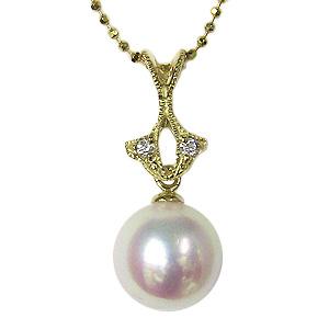 母の日 2019 真珠 パール ペンダントトップ あこや本真珠 9mm アコヤ K18 18金 ゴールド ダイヤモンド