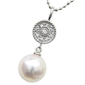 ペンダントトップ 真珠パール ペンダント あこや本真珠 PT900 プラチナ 真珠の直径8mm ピンクホワイト系 ダイヤモンド 9石 0.05ct ペンダント 6月の誕生石
