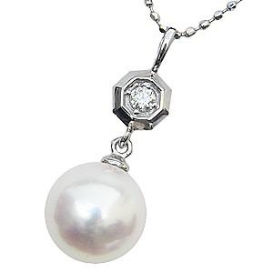 入学 入園 真珠パール ペンダント あこや本真珠 PT900 プラチナ 真珠の直径8mm ピンクホワイト系 ダイヤモンド 1石 0.03ct ペンダント 6月の誕生石