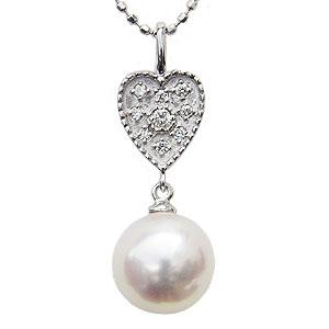 ペンダントトップ 真珠パール ペンダント あこや本真珠 K18WG ホワイトゴールド 真珠の直径8mm ピンクホワイト系 ダイヤモンド 9石 0.05ct ペンダント 6月の誕生石