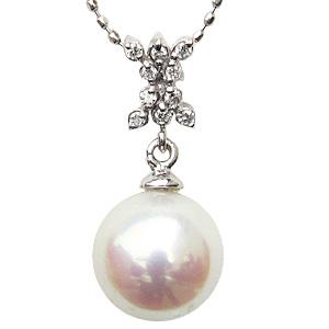 ペンダントトップ ペンダント あこや真珠パール K18WG ホワイトゴールドネックレス ダイヤモンド ジュエリー