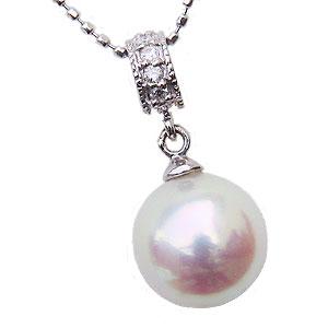 ペンダントトップ ダイヤ あこや真珠パール ホワイトゴールド ネックレス ダイヤモンド ジュエリー
