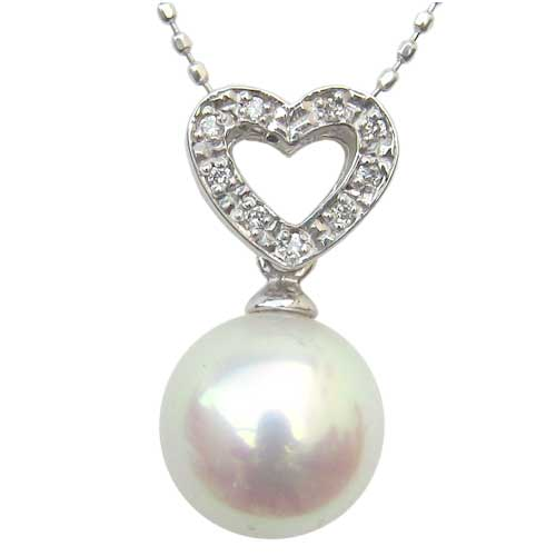 母の日 2019 ネックレスペンダント あこや真珠 K18WG ホワイトゴールド ネックレス ダイヤモンド ジュエリー