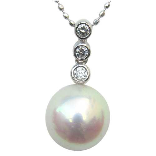 パール ペンダントトップ ダイヤ あこや真珠 ホワイトゴールド ネックレス ダイヤモンド ジュエリー