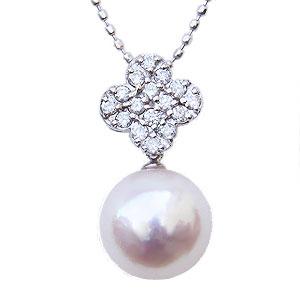 母の日 2019 パールペンダント パールネックレス 本真珠 9mm ダイヤモンド 0.17ct ホワイトゴールド K18WG