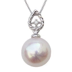 母の日 2019 パールペンダント パールネックレス 本真珠 9mm 一粒 ダイヤモンド 0.01ct ホワイトゴールド K18WG