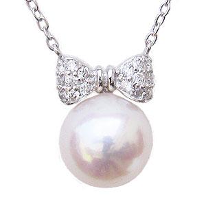 母の日 2019 パール ペンダント リボン ネックレス 本真珠 8mm ダイヤモンド 0.10ct K18 ホワイトゴールド