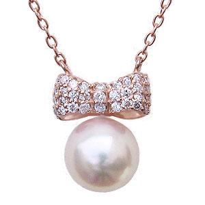 母の日 2019 リボンモチーフ パール ペンダント ネックレス 本真珠 7mm ダイヤモンド 0.15ct K18 ピンクゴールド