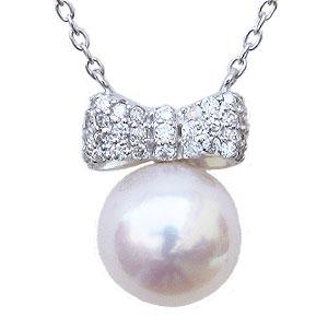 母の日 2019 リボンモチーフ パール ペンダント ネックレス 本真珠 7mm ダイヤモンド 0.15ct K18WG ホワイトゴールド
