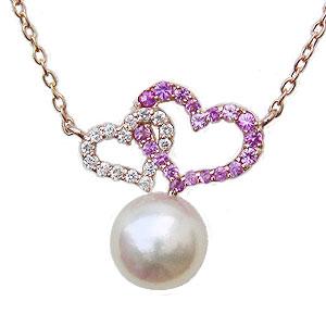 母の日 2019 ハートモチーフ パール ペンダント ネックレス 本真珠 7mm ピンクサファイア ダイヤモンド K18 ピンクゴールド