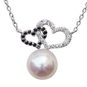 母の日 2019 ハートモチーフ パール ペンダント ネックレス 本真珠 8mm ダイヤモンド ブラックダイヤモンド K18 ホワイトゴールド