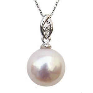 母の日 2019 パール ペンダントトップ 本真珠 9mm ダイヤモンド 0.01ct K18WG ホワイトゴールド