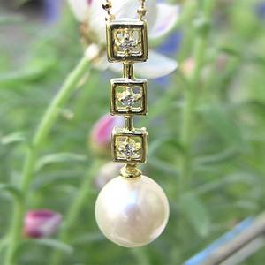 母の日 2019 真珠 ペンダントトップ パール あこや本真珠 ダイヤモンド 7mm K18 ゴールド