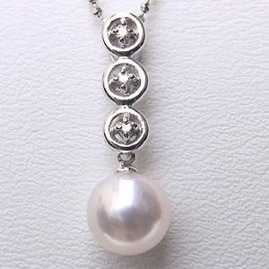 パール ペンダントトップ プラチナ あこや真珠 PT900プラチナネックレス ダイヤモンド ネックレスペンダント