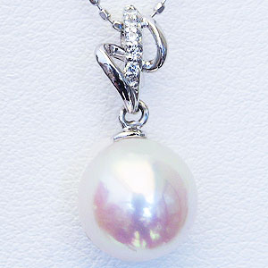 母の日 2019 真珠 ペンダントヘッド パール ペンダントトップ あこや本真珠 直径 8.5mm アコヤ ダイヤモンド 0.03ct K18WG ホワイトゴールド