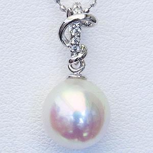 母の日 2019 パール 真珠 ペンダント あこや本真珠 直径8mm アコヤ ダイヤモンド 0.03ct K18WG ホワイトゴールド