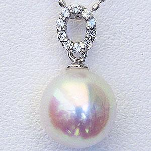 パール ペンダントトップ あこや本真珠 直径8mm アコヤ ダイヤモンド 0.05ct K18WG ホワイトゴールド 送料無料