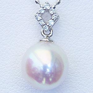 真珠パール 6月誕生石 ペンダントヘッド あこや本真珠 直径8.5mm ペンダントトップ アコヤ ダイヤモンド 0.04ct K18WG ホワイトゴールド 送料無料