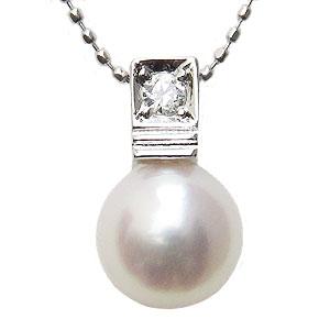 ペンダントトップ ダイヤ あこや真珠パール K18ホワイトゴールドネックレス ダイヤモンド