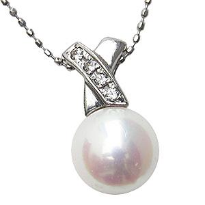 6月誕生石 ネックレス あこや真珠パール ホワイトゴールド ネックレス ダイヤモンド