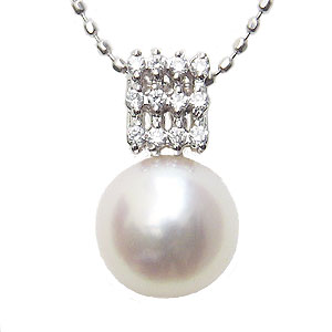 母の日 2019 6月誕生石 ネックレスペンダント あこや真珠パール K18ホワイトゴールドネックレス ダイヤモンド