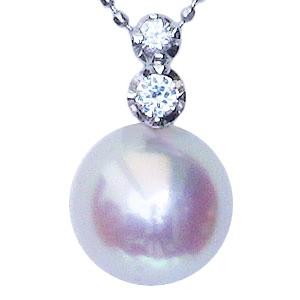母の日 2019 真珠 パール ペンダントトップ ペンダント あこや本真珠 直径8.0mm ダイヤモンド 0.08ct K18WG ホワイトゴールド