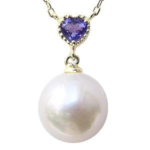 あこや本真珠 8.5mm アメジスト 2月誕生石 ネックレスペンダント パール K10ゴールドネックレス ハート 結婚式 パーティ プレゼント 誕生日